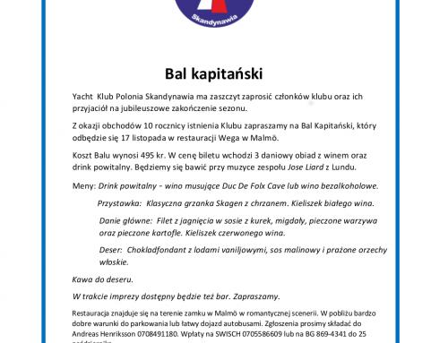 Zaproszenie na Bal kapitański