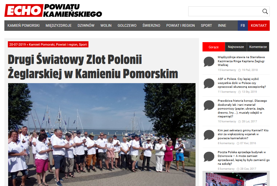 Drugi Światowy Zlot Polonii Żeglarskiej w Kamieniu Pomorskim- ECHO POWIATU KAMIEŃSKIEGO